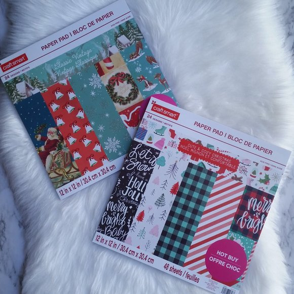 """Christmas Plaids 12/"""" x 12/"""" Paper Pad by Craft Smart 48 Sheets Scrapbooking Paper"""